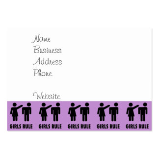 Funny Girls Rule Purple Girl Power Feminist Gifts Large Business Card