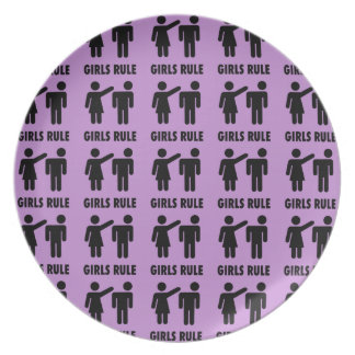 Funny Girls Rule Purple Girl Power Feminist Gifts Plate