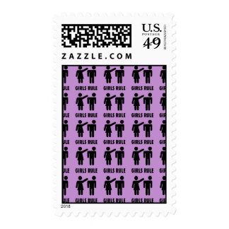 Funny Girls Rule Purple Girl Power Feminist Gifts Postage Stamp