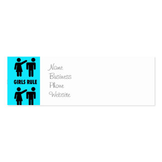 Funny Girls Rule Teal Turquoise Blue Girl Power Double-Sided Mini Business Cards (Pack Of 20)