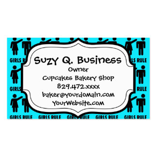 Funny Girls Rule Teal Turquoise Blue Girl Power Double-Sided Standard Business Cards (Pack Of 100)