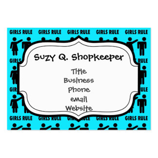 Funny Girls Rule Teal Turquoise Blue Girl Power Large Business Cards (Pack Of 100)