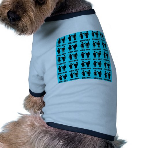 Funny Girls Rule Teal Turquoise Blue Girl Power Doggie T Shirt