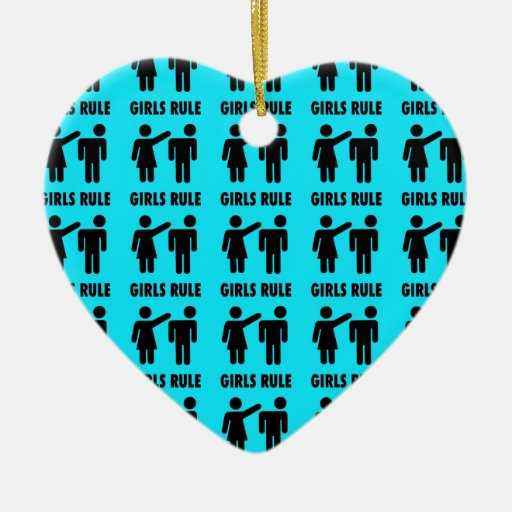 Funny Girls Rule Teal Turquoise Blue Girl Power Double-Sided Heart Ceramic Christmas Ornament
