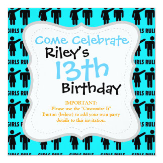Funny Girls Rule Teal Turquoise Blue Girl Power 5.25x5.25 Square Paper Invitation Card