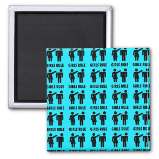 Funny Girls Rule Teal Turquoise Blue Girl Power Magnet