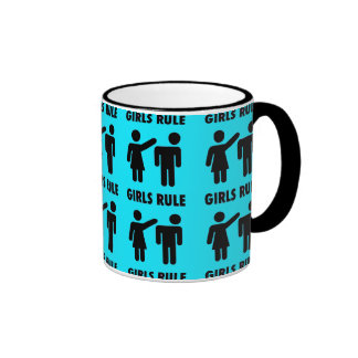 Funny Girls Rule Teal Turquoise Blue Girl Power Coffee Mugs