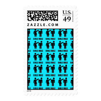 Funny Girls Rule Teal Turquoise Blue Girl Power Stamp