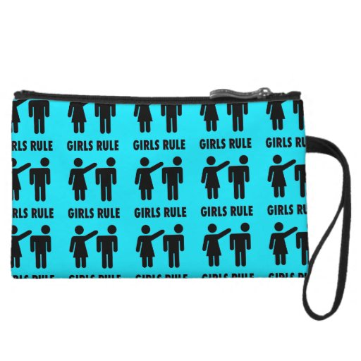 Funny Girls Rule Teal Turquoise Blue Girl Power Wristlets