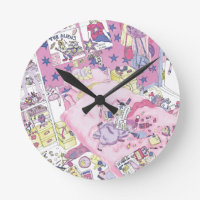 Funny Girls Teenager Bedroom Pink From Above Art Round Clock