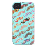 Funny Girly Colorful Aztec Patterns Mustaches iPhone 4 Case-Mate Case
