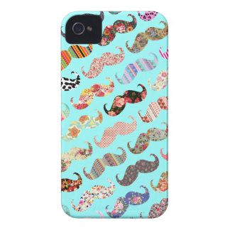 Funny Girly Colorful Aztec Patterns Mustaches iPhone 4 Case