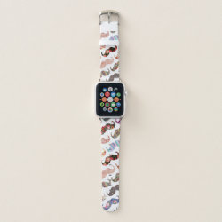 Girly Colorful Mustaches Pattern Apple Watch Band, 38mm
