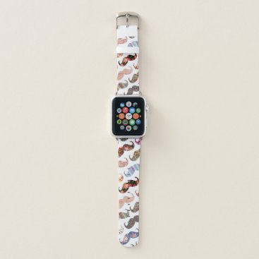 Aztec Themed Funny girly colorful floral patterns mustaches apple watch band