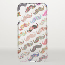 Uncommon iPhone X Clearly™ Deflector Case with Girly Colorful Mustaches Pattern design