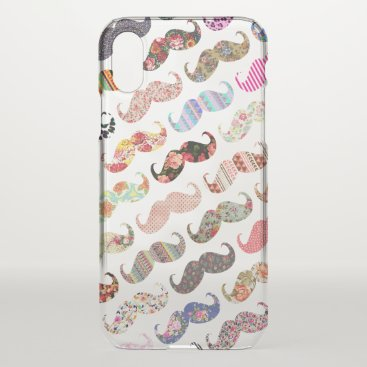 Aztec Themed Funny girly colorful floral patterns mustaches iPhone x case