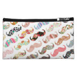 Funny Girly  Colorful Patterns Mustaches Makeup Bags