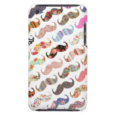 Funny Girly  Colorful Patterns Mustaches Barely There iPod Cover at Zazzle
