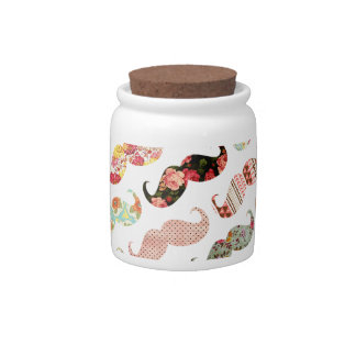 Funny Girly  Colorful Patterns Mustaches Candy Jar
