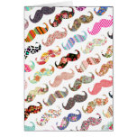 Funny Girly  Colorful Patterns Mustaches Greeting Card