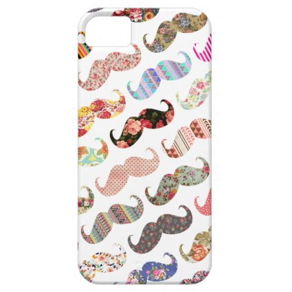 Funny Girly Colorful Patterns Mustaches iPhone 5 Covers