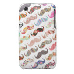 Funny Girly  Colorful Patterns Mustaches iPhone 3 Covers