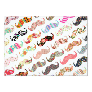 Funny Girly  Colorful Patterns Mustaches 5x7 Paper Invitation Card