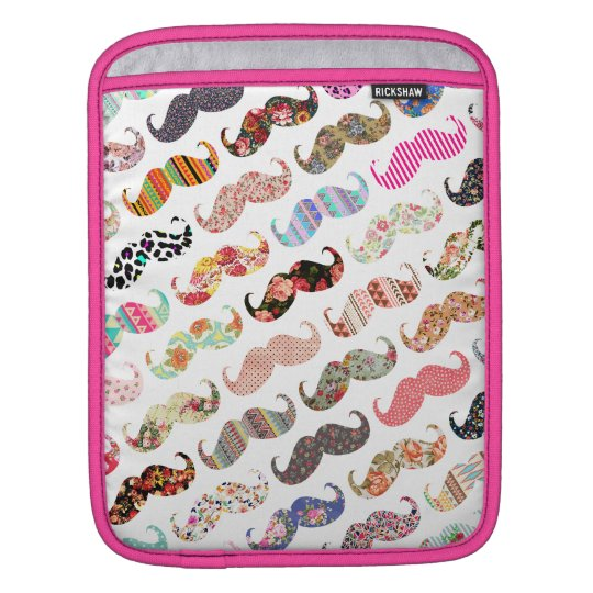 Funny Girly  Colorful Patterns Mustaches iPad Sleeve