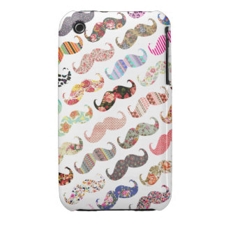 Funny Girly  Colorful Patterns Mustaches iPhone 3 Case-Mate Case
