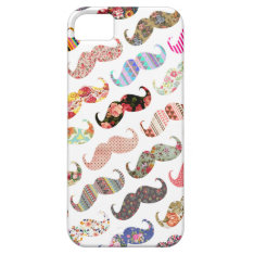 Funny Girly  Colorful Patterns Mustaches iPhone SE/5/5s Case at Zazzle