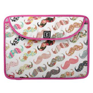 Funny Girly  Colorful Patterns Mustaches MacBook Pro Sleeves