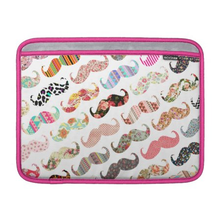 Funny Girly  Colorful Patterns Mustaches Macbook Sleeve