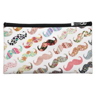 Funny Girly  Colorful Patterns Mustaches Makeup Bag