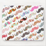 Funny Girly  Colorful Patterns Mustaches Mouse Pad