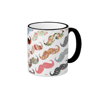 Funny Girly  Colorful Patterns Mustaches Mugs