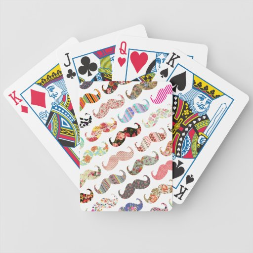 Funny Girly  Colorful Patterns Mustaches Bicycle Playing Cards