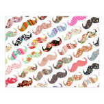 Funny Girly Colorful Patterns Mustaches Postcard at Zazzle