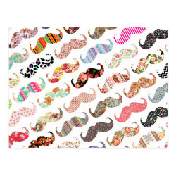 Girly Colorful Mustaches Pattern Postcard