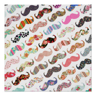 Funny Girly  Colorful Patterns Mustaches Poster