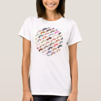 Funny Girly  Colorful Patterns Mustaches T-Shirt