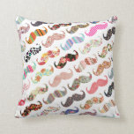 Funny Girly  Colorful Patterns Mustaches Throw Pillow at Zazzle