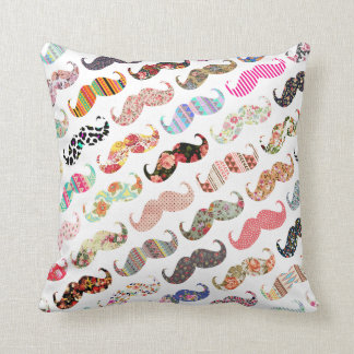 Funny Girly  Colorful Patterns Mustaches Throw Pillow