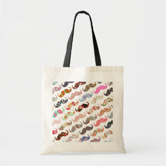 Funny Girly  Colorful Patterns Mustaches Tote Bag