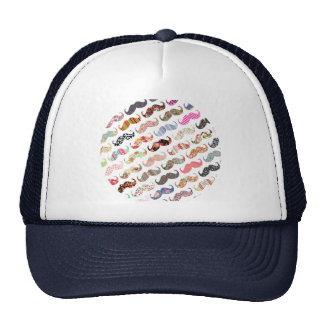 Funny Girly  Colorful Patterns Mustaches Trucker Hat
