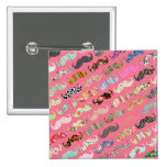 Funny Girly Colorful Pink Aztec Patterns Mustaches Pinback Button