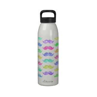 Funny Girly Mustache Chic Pink Glitter Photo Print Drinking Bottles