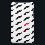 "Funny Girly Pink  And Black Mustache Pattern Barely There iPod Cover<br><div class=""desc"">A girly pink and black funny cute mustaches pattern. A  cool retro design with a geek 80s funny mustaches on white background. The perfect humor gift idea for her or anyone on any occasion, </div>"