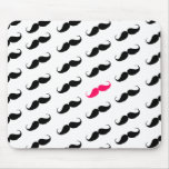 Funny Girly Pink  And Black Mustache Pattern Mousepad
