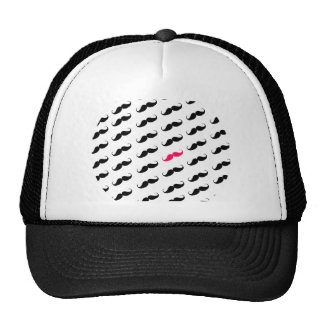 Funny Girly Pink  And Black Mustache Pattern Trucker Hat