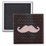 Funny Girly Pink Bling Mustache Polka Dots Pattern 2 Inch Square Magnet